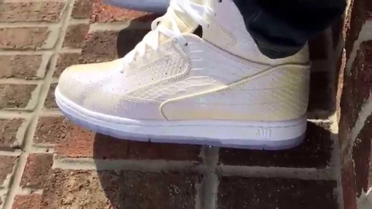 Pearl Nike Air Python on feet.