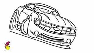 Racing Car Chevy Camaro - Car Drawings - how to draw a Car