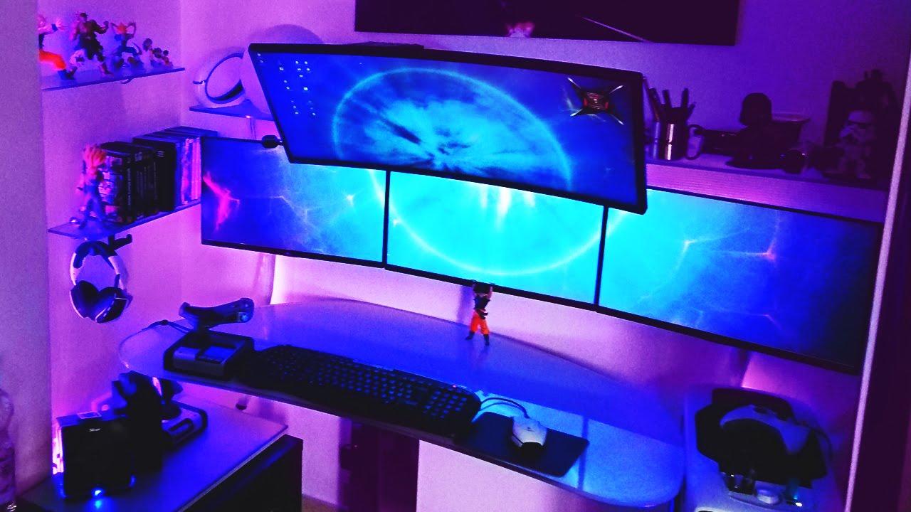 insane quad monitor setup setup spotlight youtube. Black Bedroom Furniture Sets. Home Design Ideas