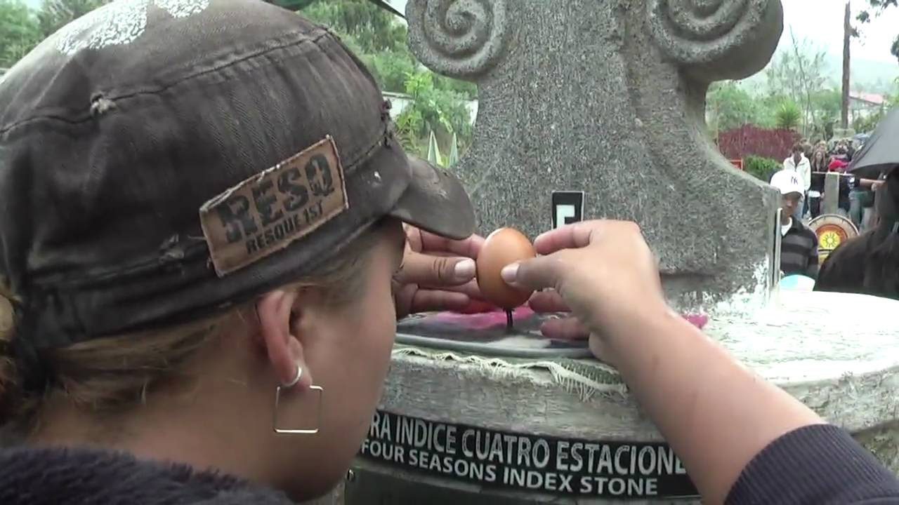 Balancing Egg On A Nail Standing The Equator Ecuador You