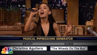 "Jimmy challenges Ariana to a game of random musical impressions, such as Christina Aguilera singing ""The Wheels on the Bus."" Subscribe NOW to The ..."