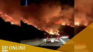Aus dem Auto gefilmt: Heftige Waldbrände bedrohen Südkalifornien