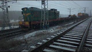 ЧМЕ3-4813 з господарським поїздом + 2ТЭ10М-2695