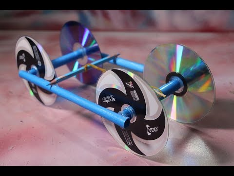 Make Rubber Band Powered Car With Recycle CD Disc - diy kids