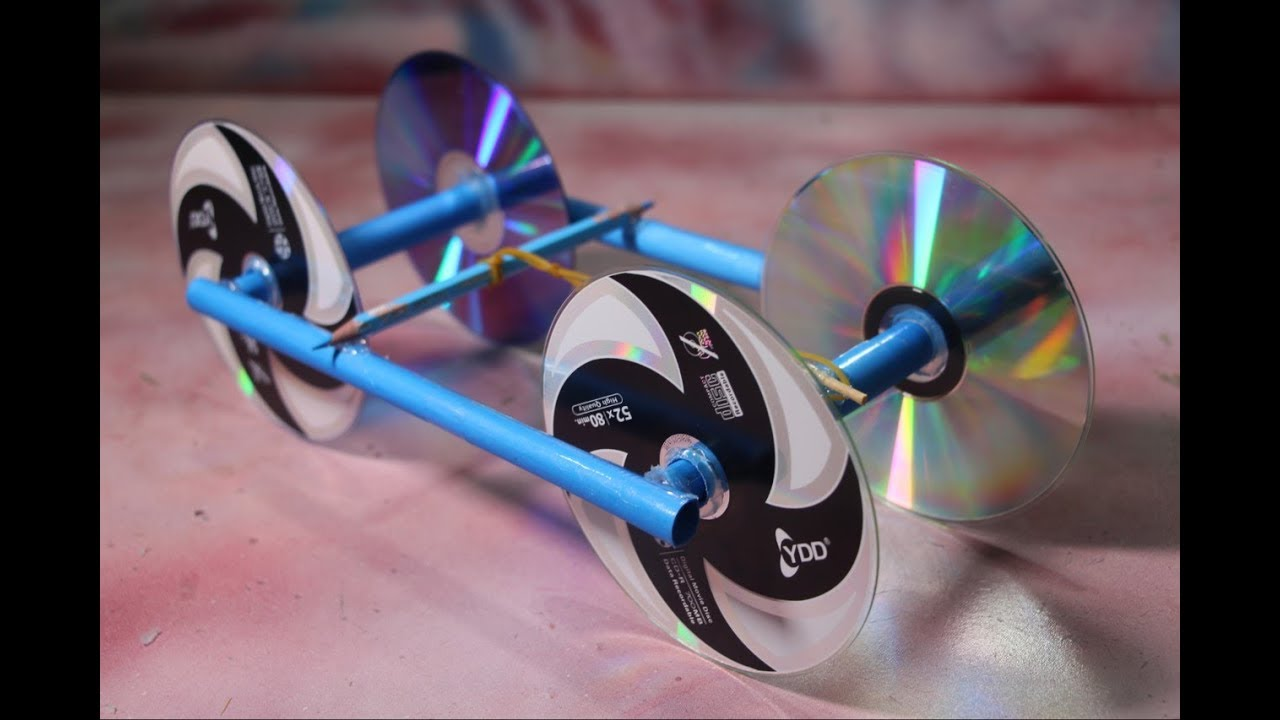 Make Rubber Band Powered Car With Recycle Cd Disc Diy Kids