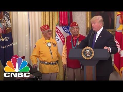 President Donald Trump Repeats 'Pocahontas' Jab At Sen. Warren During Native American Event | CNBC