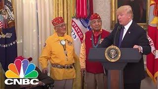 President Donald Trump Repeats 'Pocahontas' Jab At Sen. Warren During Native American Event   CNBC