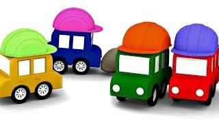 4 pequeños coches. En el sitio de construcción. Dibujos animados.