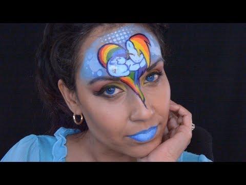 My Little Pony Rainbow Dash's facepaint makeup Tutorial