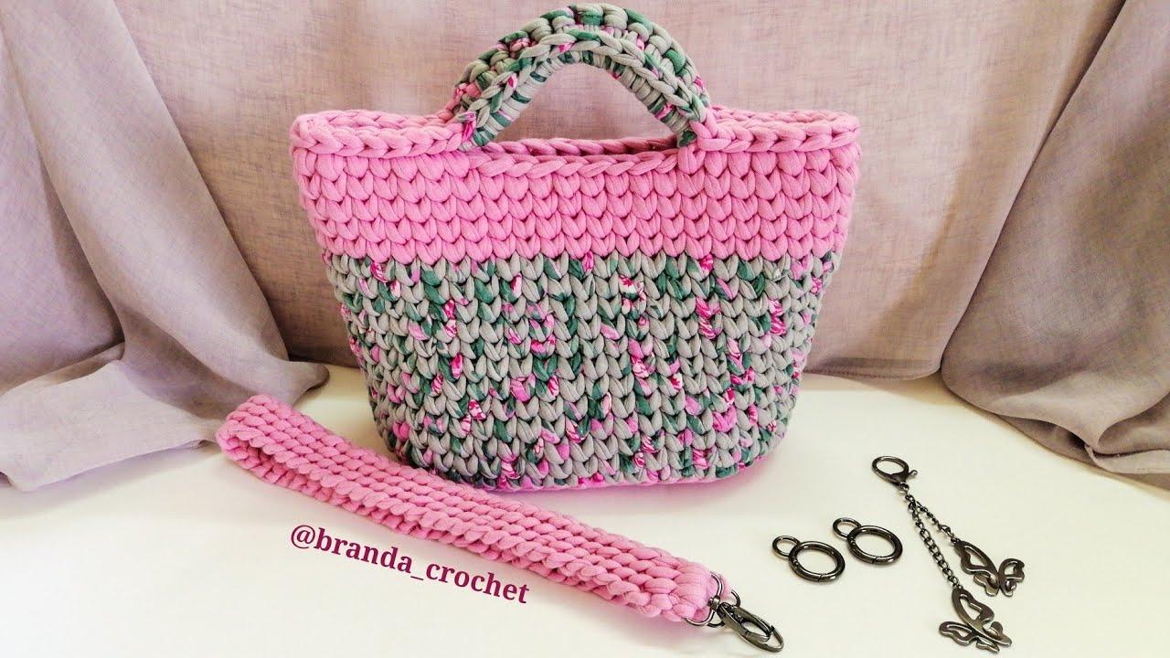 كروشيه شنطه بخيط الكليم - Crochet bag t-shirt tarn