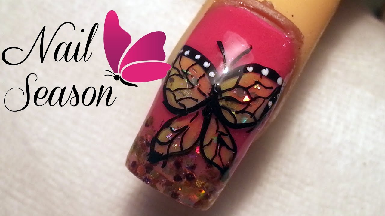 Uñas de acrilico decoradas. Diseño Mariposa 3d. Uñas ...