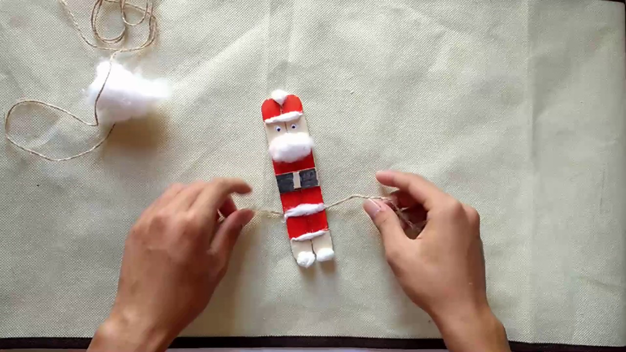 Diy Christmas Ornaments Santa Claus Using Popsicle Stick Craft