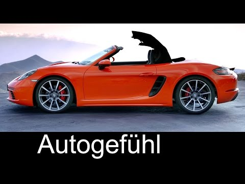 Porsche 718 Boxster S Sound Driving shots Exterior Interior details Preview 2017