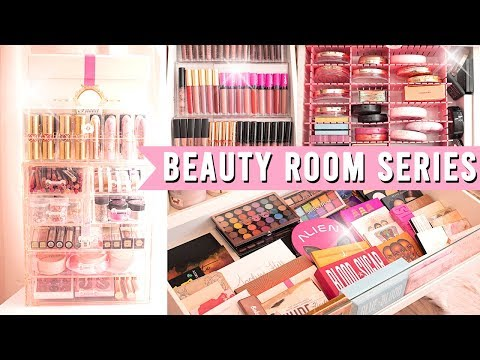 ORGANIZING ALL OF MY MAKEUP   BEAUTY ROOM SERIES