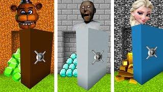 Minecraft PE : DO NOT CHOOSE THE WRONG SECRET VAULT! (FNAF, Granny & Elsa)