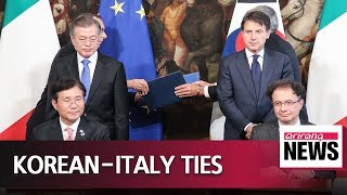 Leaders of Korea and Italy agree to boost ties between two sides; sign MOUs