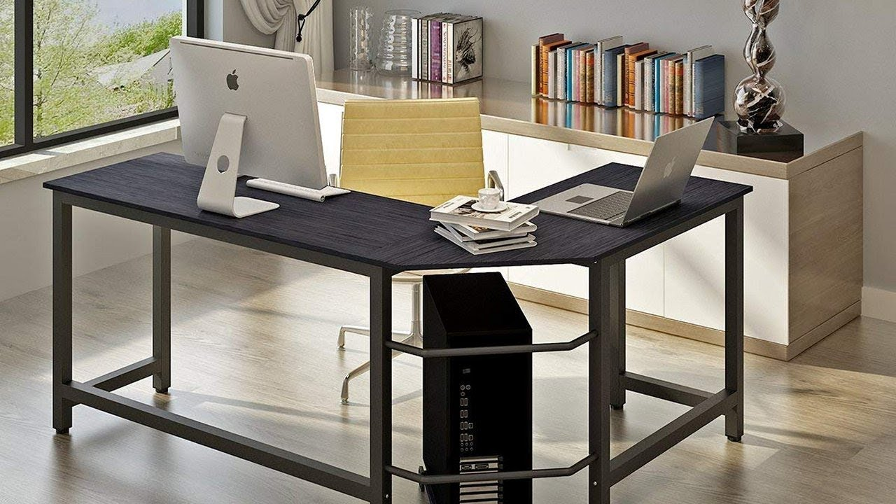 "L Shaped Corner Desk Computer Workstation Home Office: Excellent Computer Desk! Unboxing, Review & Assembly: ""L"