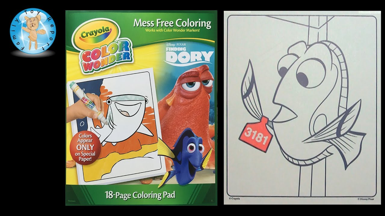 Crayola Disney Pixar Finding Dory Color Wonder Coloring Book Tag ...