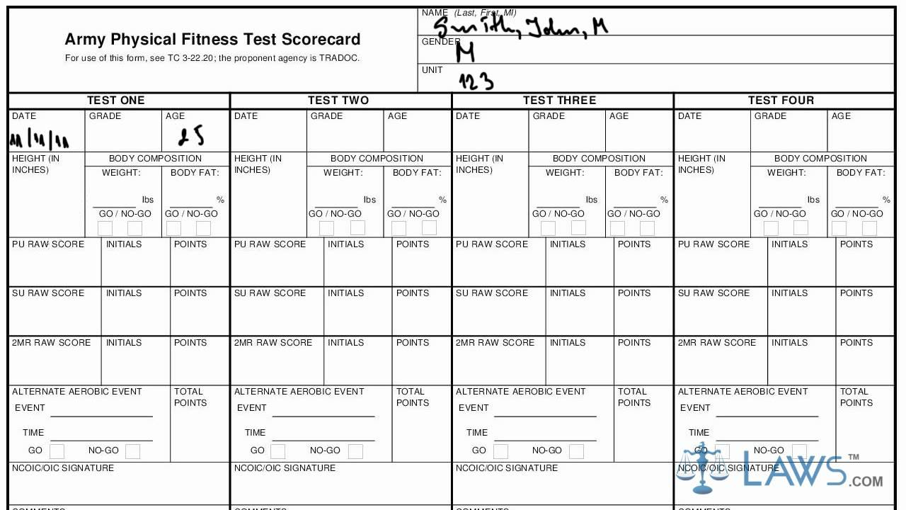 Army apft regulation tc - Learn How To Fill The Da Form 705 Army Physical Fitness Test Scorecard