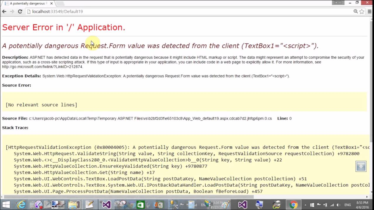 Fix: potentially dangerous Request Form value was detected from ...