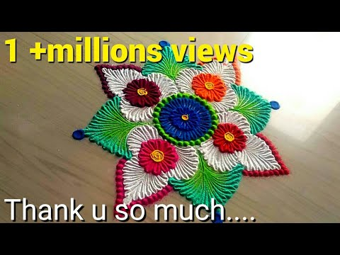 How to make easy & simple beautiful/unique rangoli designs by Jyoti Rathod,sankaranti rangoli design