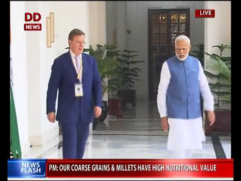 PM Narendra Modi meets Latvian PM Māris Kučinskis in Delhi