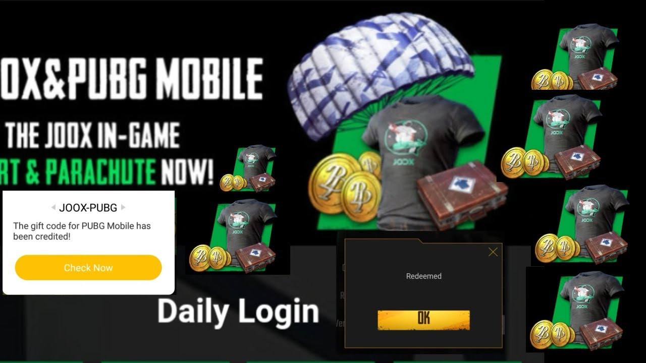 FREE REDEEM T-shirt, COIN, MONEY - PUBG MOBILE NO ROOT