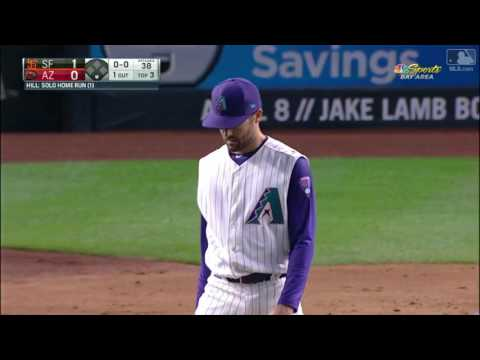 2017 Giants 40617 Aaron Hill cracks a solo home run to deep left field to give the Giants a 1 0 lead