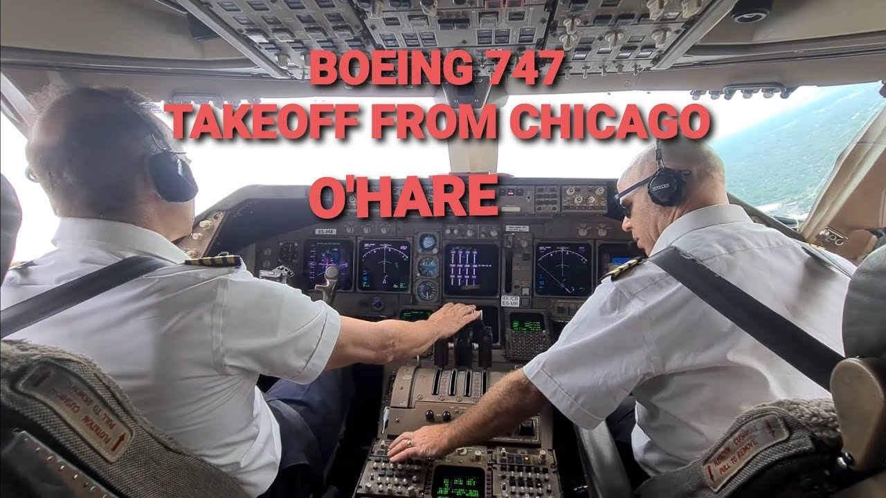 BOEING 747-400 TAKEOFF from CHICAGO O'HARE KORD Airport   (cockpit view)