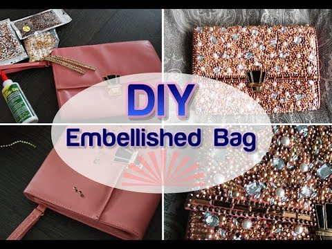 BLING MY BAG DIY Pearl Diamond Embellished wedding Clutch Purse Tumblr Crafts