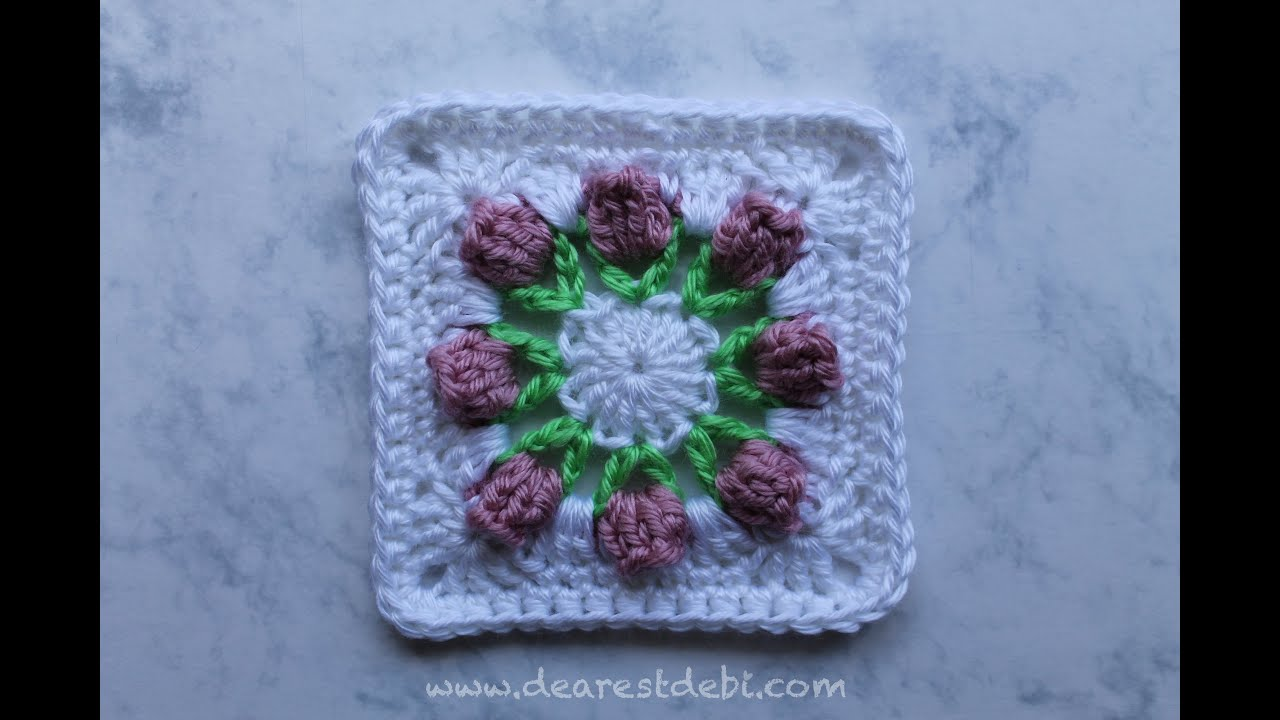 Crochet flower bud granny square youtube bankloansurffo Choice Image