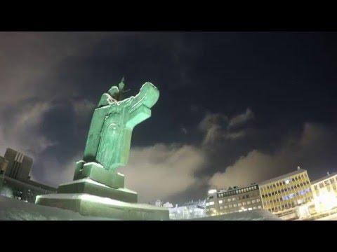 Árnarhóll & Ingólfur Arnarson Statue, GoPro, Night lapse (test)