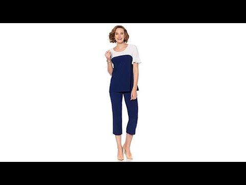 ba94f42448e Slinky Brand 2pc Colorblock Tunic and Crop Pant Set - YouTube