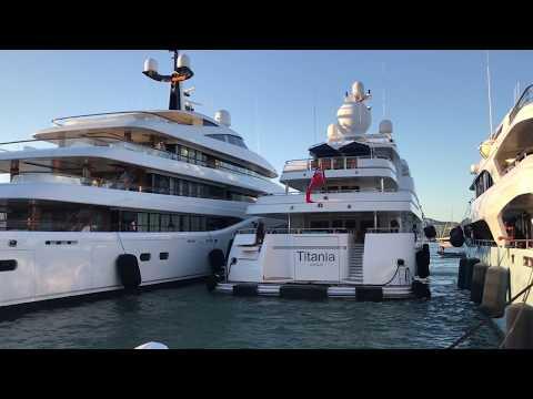 Feadship Superyacht FAITH in Ibiza & TITANIA by Lurssen docking [Commentary]