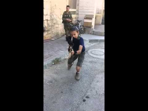 Israeli child shows off his skills as a future soldier of the IDF