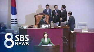 """""""김정은 수석대변인"""" 나경원 발언에 난장판 된 국회 / SBS"""