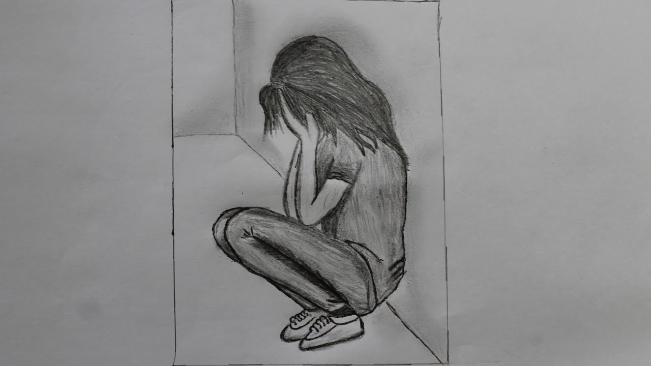 How to draw a lonely girl with a pencil step by step drawing world
