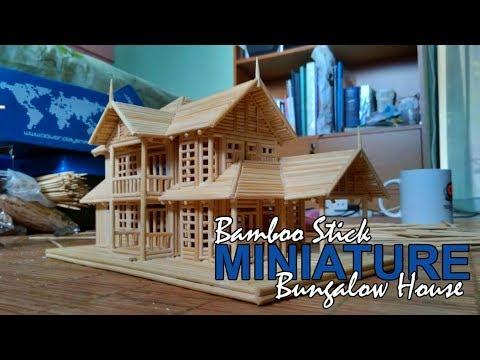 Bamboo Stick Miniature House Bungalow House Youtube