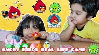 Fariha and Taraz's playing with pretend toys angry birds real life game