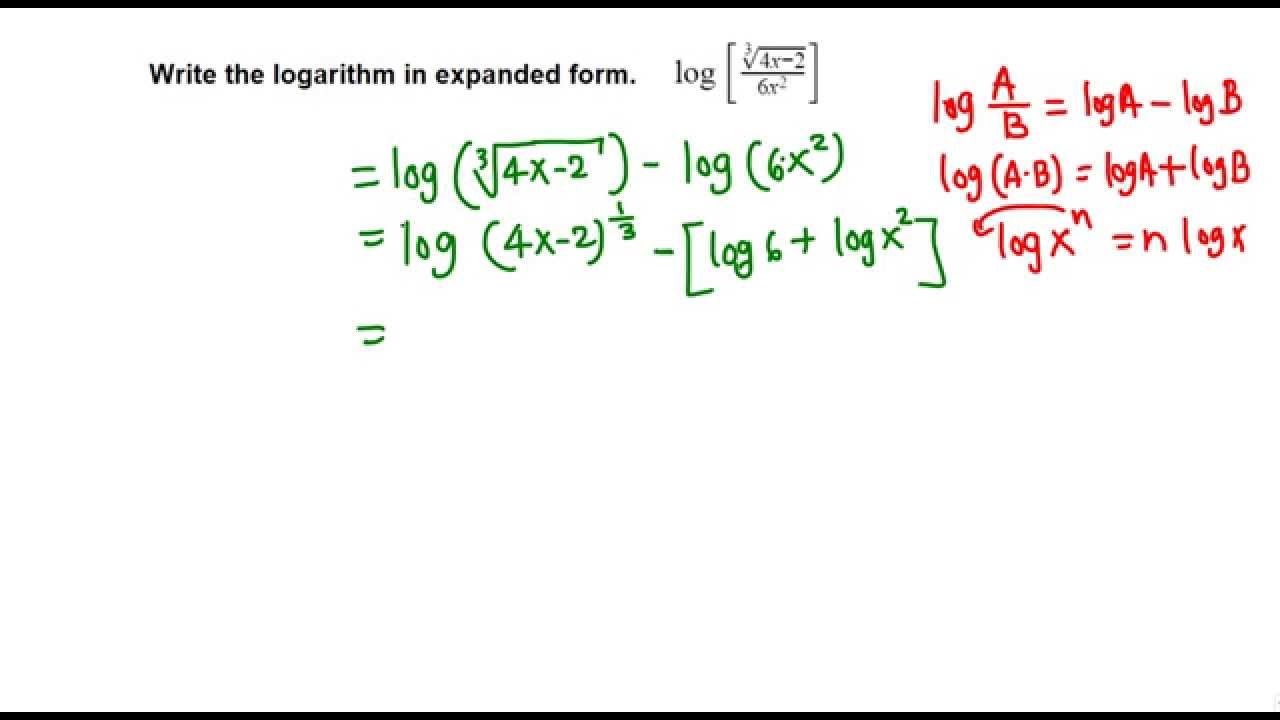 Writing logarithmic in expanded form youtube falaconquin