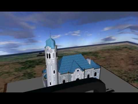 Virtual walk X3D through model of Modry kostolik Bratislava