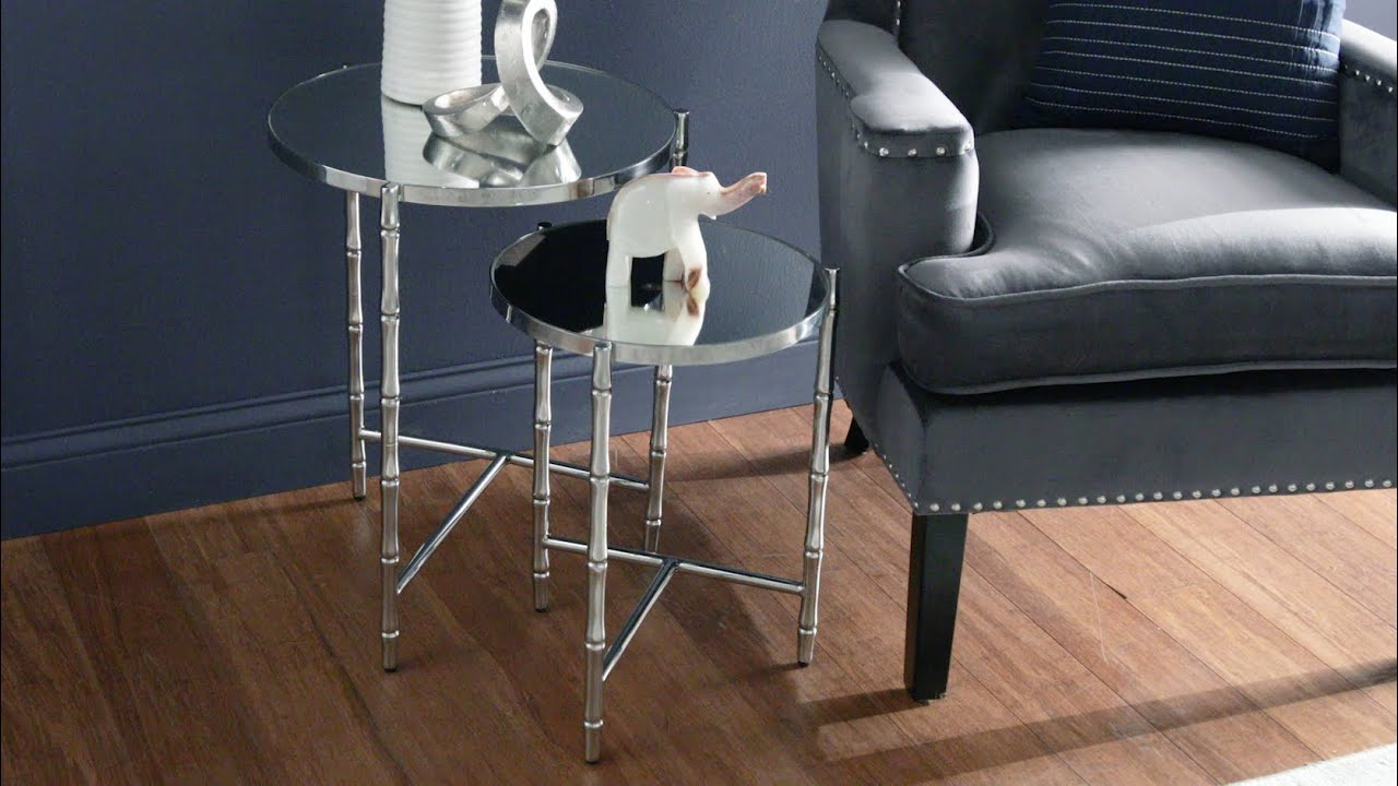 Jesenia Stainless Steel Mirrored Round Nesting Table Set by iNSPIRE Q Bold