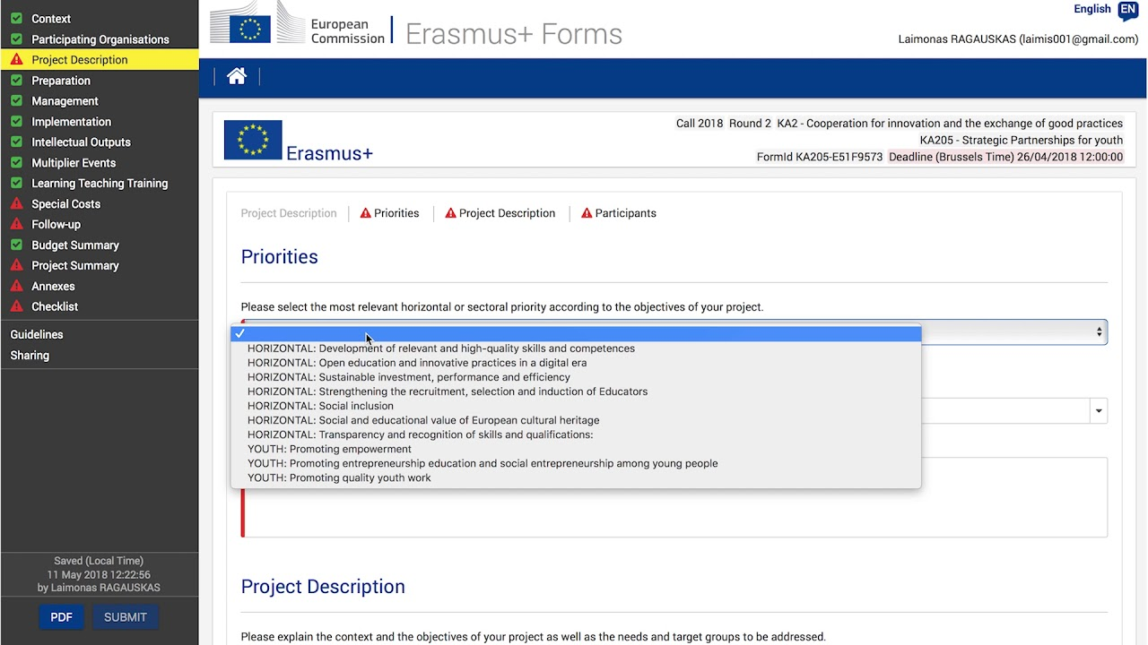 Erasmus+ KA2 Application Form tutorial. Part 1 - Context ... on application to be my boyfriend, application error, application meaning in science, application database diagram, application service provider, application to join a club, application approved, application for rental, application to rent california, application clip art, application trial, application cartoon, application template, application for scholarship sample, application submitted, application for employment, application in spanish, application to join motorcycle club, application insights, application to date my son,
