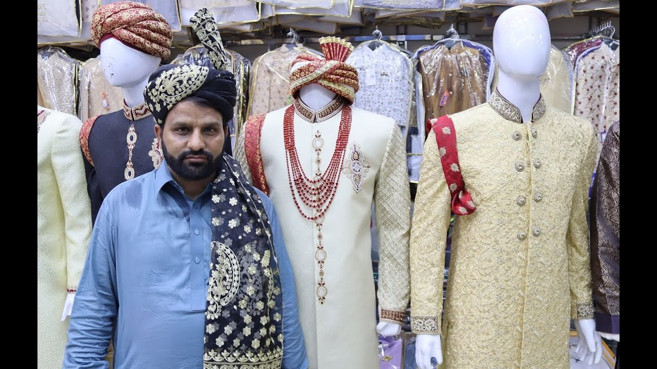 Groom's Wedding Sherwani Set & Coat Prices in Raja Bazar Rawalpindi Pakistan 2020 | Dulha Dresses