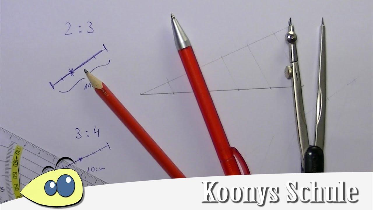 Strecke im Verhältnis teilen | Streckenteilung, Konstruktion ...