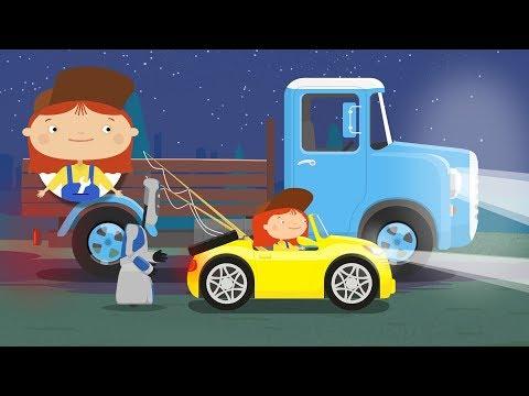 A Doutora McWheelie. Carro e faróis. Desenho animado.