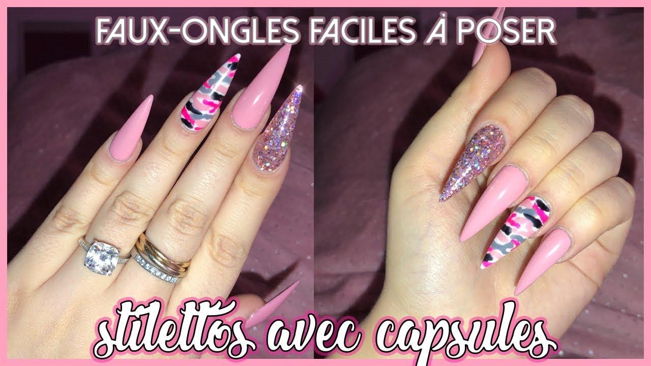 Stilettos Roses Avec Capsules Faux Ongles Faciles à Faire Chez Soi