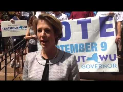 Zephyr Teachout speaks in front of White Plains City Hall on Friday.