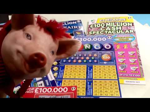 Scratchcards..CASH SPECTACULAR....21 GREEN....MILLIONAIRE 7's...BINGO...PATDAY...100,000 RED