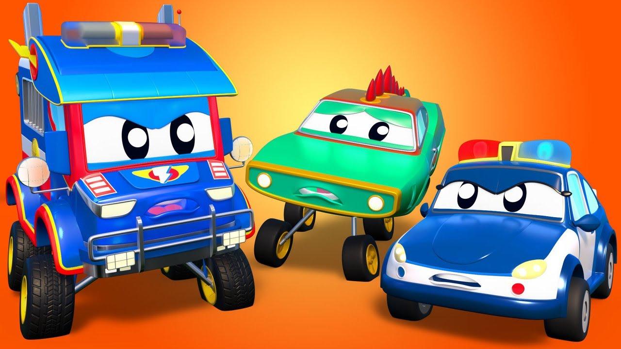 KROKODIL und POLIZEI AUTO haben Verfolgungsjagd! - Car City - Zeichentrickfilme für Kinde